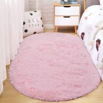 ST. BRIDGE Fluffy Soft Oval Kids Room Rug Bedroom Bedside Carpet, Anti-Skid Shaggy Fur Floor Area Rugs, Indoor Modern Fuzzy Nursery Mats for Living Dorm Room Home Decor, 2.6 x 5.3 Feet, Pink