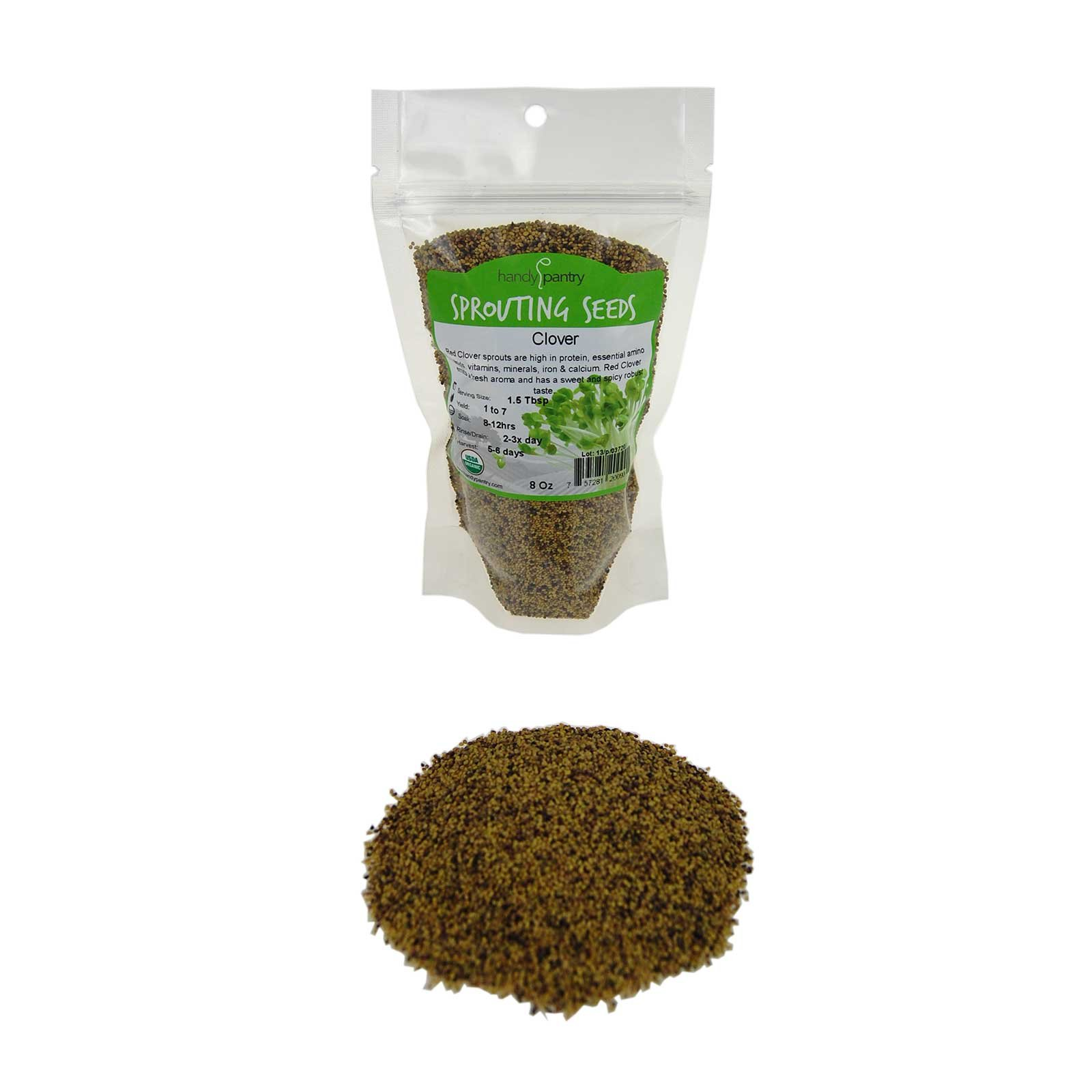 Handy Pantry Certified Organic Red Clover Sprouting Seeds - (8 Oz) Brand: Red Sweet Clover Seed for Sprouting, Gardening, Salad Greens, Hydroponics, Edible Seed, Food Storage & More
