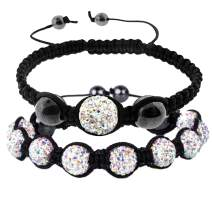 BodyJ4You 2PC Disco Ball Bracelets Beads Aurora Pave Crystals Iced Out Jewelry Gift Set
