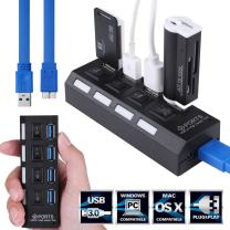 7 Port USB 3.0 Hub High-Speed 5Gbps Data Transfer Ports Splitter AC Power Adapter with On/Off Switches and LEDs 2ft USB Data Cable for MacBook Pro Laptop, iPhone, iPad, Samsung and More(7port)