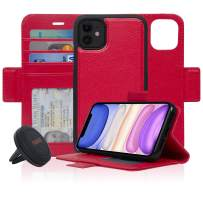 Navor Universal Car Mount & Detachable Magnetic Wallet Case with RFID Protection Compatible for iPhone 11 [6.1 inch] [Vajio Series] - Red [IP11VJKTRD]