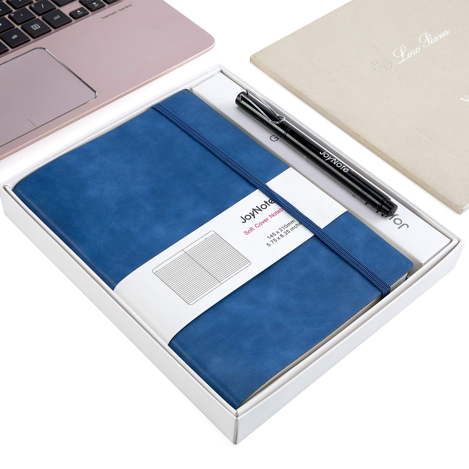 JoyNote A5 Classic Notebook Journal, Ruled Notebook with Pen Holder, Thick Paper Businees Writing Journal, 96 Sheets/192 Pages, 5.75 x 8.25 inches, Blue