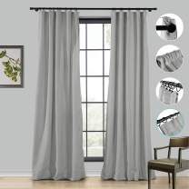ChadMade Extra Wide Faux Linen Curtain 100Wx84L inch Drapery, Room Darkening Lining Curtain Panel 4 in 1 Header Rod Pocket Flat Hooks Back Tab Hook Belt, Rock Grey (1 Panel)