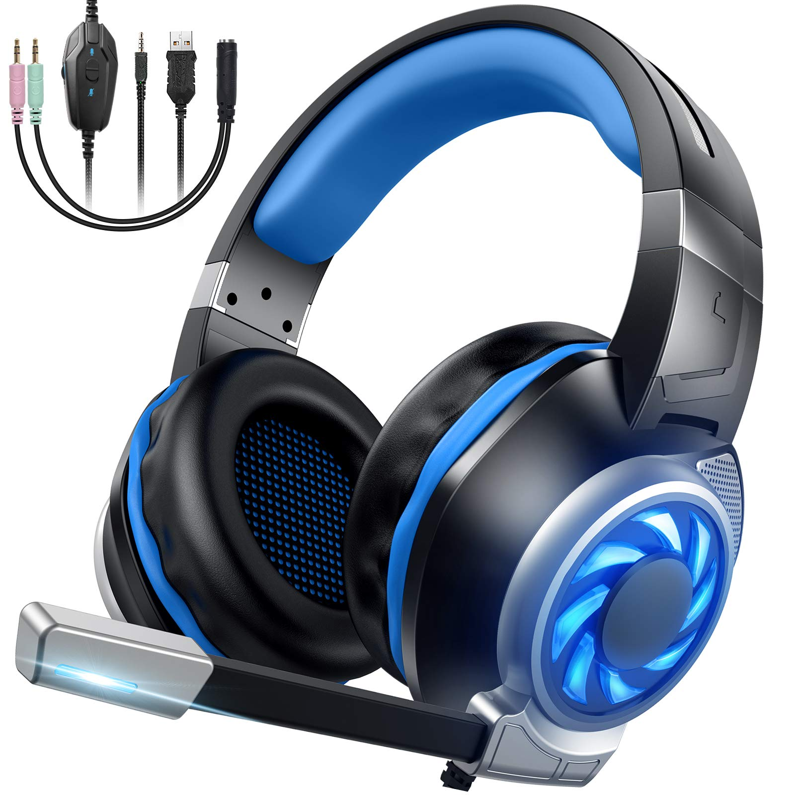 GOXMGO Gaming Headset Xbox One Headset PC Headset, Over Ear Headphones with Surround Sound, Noise Canceling Mic & LED Light, Compatible with Xbox One, PS4, PS5, PC, Switch, Laptop