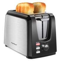 Aigostar Toaster 2 Slice, Prime Toasters with 2 Wide Slots, Compact Stainless Steel Toaster with UL Certificated Pop Up Reheat Defrost Functions, 7-Shade Control & Removable Crumb Tray