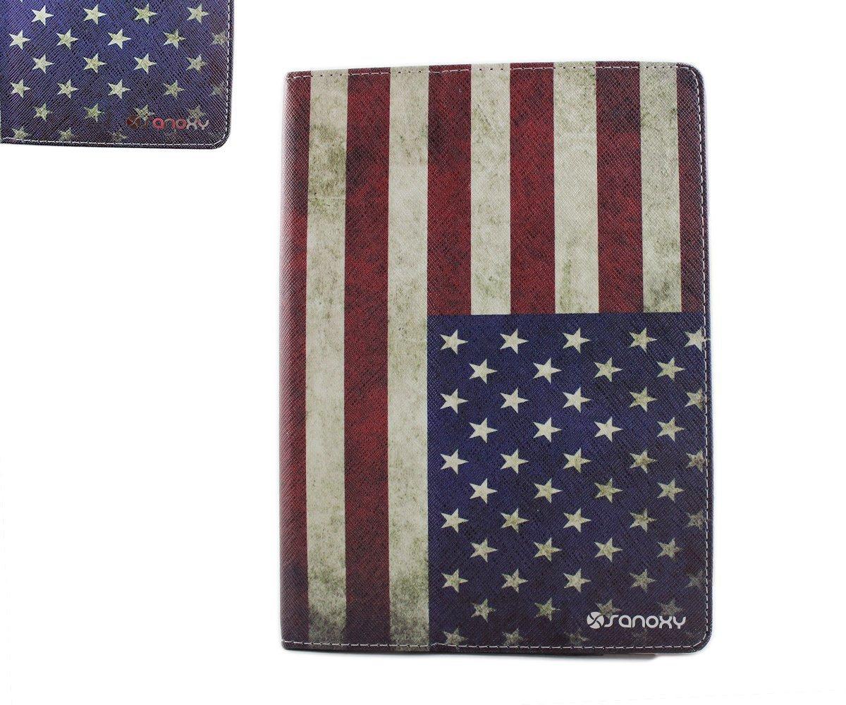"SANOXY iPad 9.7"", iPad Air Case - Folio Stand PU Leather Case Cover with Auto Sleep/Wake Feature for iPad 9.7"" / iPad 5 /5th Generation (American Flag)"