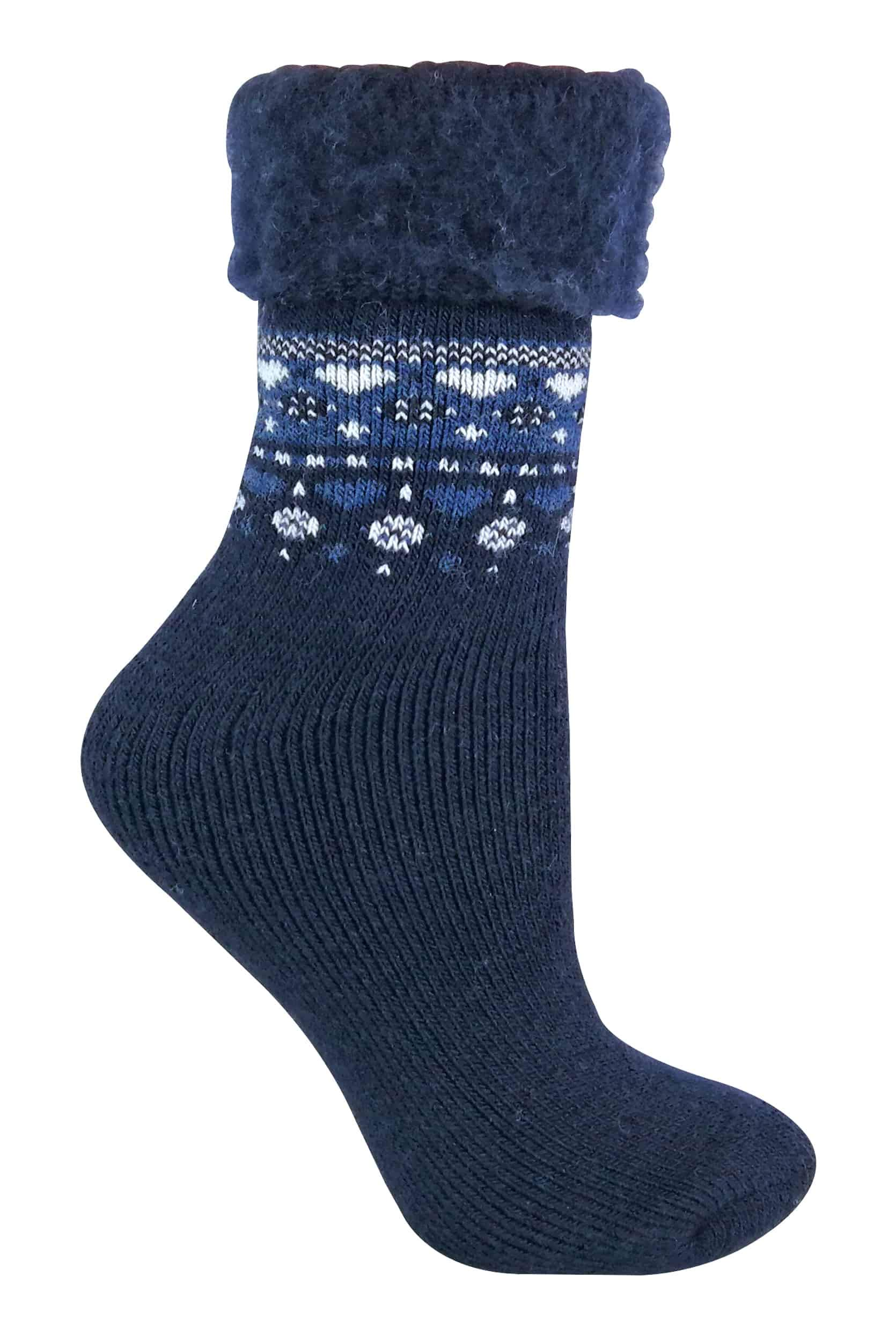 Womens Soft Cozy Vintage Winter Thermal Wool Blend Bed Socks for Cold Feet (5-9 US, 14 Indigo)