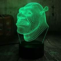 Cartoon 3D Effect Shrek Forever After Lamp 3D Optical Illusion Night Light Best Gift for Kids Remote Control USB Baby Sleep Art Table Lamp Christmas Birthday Present Home Decor(Shrek)