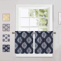 CAROMIO Cafe Curtains 24 Inch Length, Floral Medallion Damask Print Linen Blended Tier Curtains for Kitchen Cafe Small Half Window Curtains for Bathroom, Dark Navy