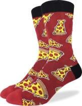 Good Luck Sock Men's Pizza Socks - Red, Adult Shoe Size 7-12