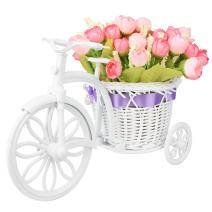 Takefuns Garden Nostalgic Bicycle Artificial Flower Decor Plant Stand Mini Garden for Home Wedding Decoration