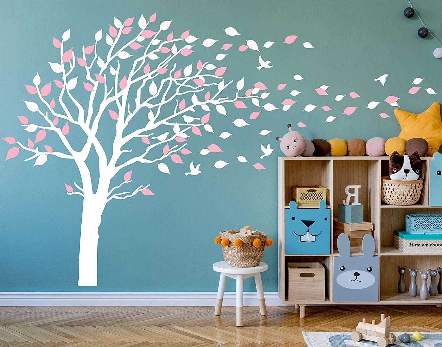 AIYANG Blossom Tree Wall Decals Flying Birds Wall Stickers Removable Vinyl Wall Art Wall Decorations for Kids Baby Nursery Room Decoration (White,Pink)
