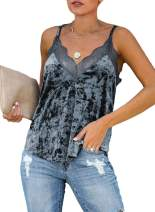Aleumdr Women's Summer V Neck Strappy Velvet Lace Cami Tops Casual Loose Camisole Vests Shirt