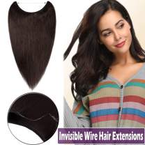 """Hidden Crown Wire Hair Extension 100% Remy Human Hair 20"""" Straight Invisible Secret Wire Fish Line Hairpieces No Clips No Glue for Women Beauty 70g #2 Dark Brown"""