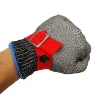 Red Safety Cut Proof Stab Resistant Stainless Steel Metal Mesh Butcher Glove High Performance Level 5 Protection Size L