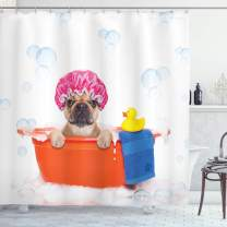 "Ambesonne Dog Lover Shower Curtain, Dog Having a Bath in a Tub with Rubber Duck Cleaning Theme on Bubbles Background, Cloth Fabric Bathroom Decor Set with Hooks, 75"" Long, Orange Pink"