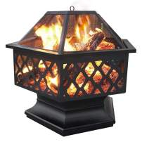 Yaheetech Hexagon Fire Pit Fireplace Portable Firepit Iron Brazier Wood Burning Coal Pit Hex Shaped Fire Bowl Stove with Spark Screen Cover for Outdoor Outside Camping Patio Garden Backyard 24in Black