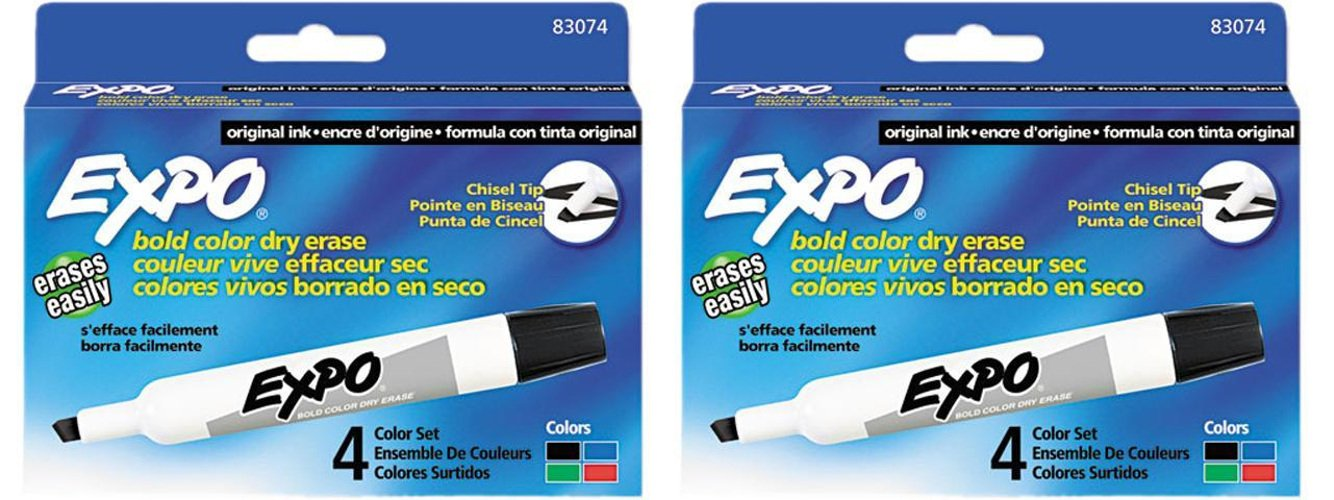 Expo 83074 Assorted Color Chisel Tip Dry Erase Marker Pack, Assorted Colors, Chisel Tip, Each Box Comes With 4 Markers, Total of 8 Markers
