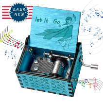fezlens Wood Music Boxes Frzon Antique Engraved Wooden Musical Box Gifts for Birthday/Christmas/Valentine's Day/Thanksgiving Days Hand-Operated Present Kid Toys (Blue)