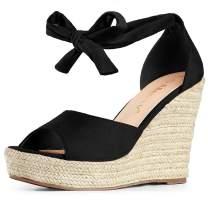Allegra K Women's Espadrilles Tie Up Ankle Strap Wedges Sandals