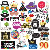 90th Birthday Photo Booth Party Props - 40 Pieces - Funny 90th Birthday Party Supplies, Decorations and Favors