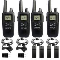 Retevis RT41 Walkie Talkies for Adults with Headset NOAA Weather Alert LCD FRS 10 Call Alert VOX Rechargeable 2 Way Radio Long Range(4 Pack)