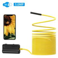WiFi Endoscope, DEPSTECH Upgrade 5.0MP HD Inspection Camera Snake Wireless Borescope, 16 Inch Focal Distance, Semi-Rigid Cable, 2600mAh Battery for Smartphone Tablets with iOS & Android-16.5ft