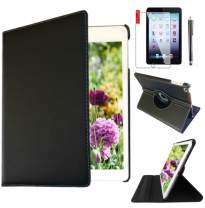 Ipad Case 360 Degrees Rotating Stand Leather Magnetic Smart Cover Case for Ipad 2/3/4 Generation Case with Bonus Screen Protector, Stylus and Cleaning Cloth (Plain Black)