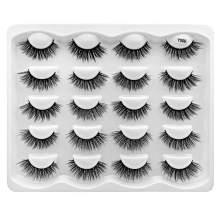 False Eyelashes 10 Pairs 3D Faux Mink Lashes Natural Wispy Eyelashes Handmade Soft Reusable Makeup Eyelashes Extension (Y009)