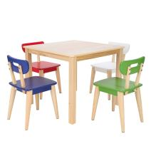 Max & Lily Natural Wood Kid and Toddler Square Table +  Modern Chairs (Blue, Red, Green, White)