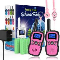 Wishouse Rechargeable Walkie Talkies for Kids with Charger Battery,Family Two Way Radio Long Range,Outdoor Game Camping Spy Amy Police Toy,Birthday Party Gift for 4 5 6 7 8 9 10 Year Old Girl Boy Pink