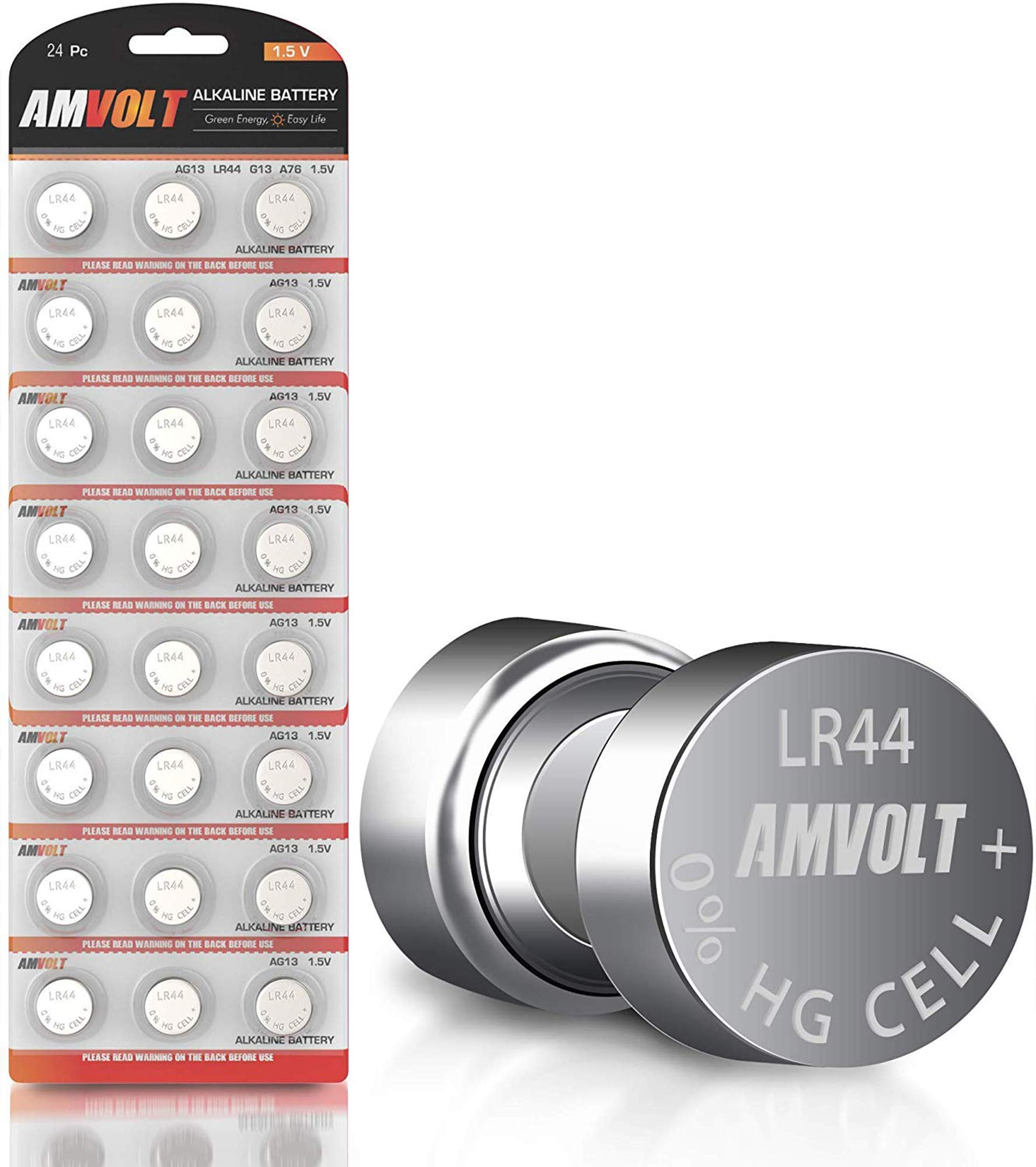 24 Pack LR44 AG13 SR44 357 303 LR44G Battery - [Ultra Power] Premium Alkaline 1.5 Volt Non Rechargeable Round Button Cell Batteries for Watches Clocks & Electronic Devices - 2023 Exp Date