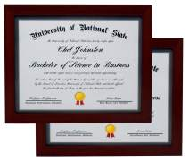 8.5x11 Mahogany Gallery Certificate and Document Frame 2-Pack - Wide Molding - Includes Attached Hanging Hardware and Desktop Easel - Award, Certificates, Documents, a Diploma, or a Photo 8.5 x 11