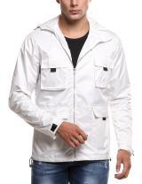 COOFANDY Mens Lightweight Rain Jacket Waterproof Hooded Running Cycling Zipper Packable Outdoor Raincoat