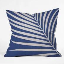 "Society6 Modern Tropical Vintage Indigo Palm Throw Pillow, 18""x18"", Blue"