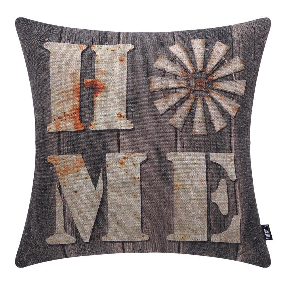 "TRENDIN 18"" X 18"" Vintage Farmhouse Home Linen Cushion Cover Sofa Throw Pillow Case PL144TR"