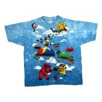 Liquid Blue Men's Grateful Dead Parachuting Bear Short Sleeve T-Shirt