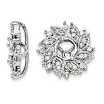 14k White Gold Diamond Flower Earrings Jacket Gardening Fine Jewelry For Women Gifts For Her
