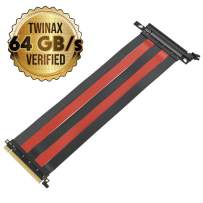 LINKUP PCIE 3.0 16x Shielded Twin-axial Riser Cable Premium PCI Express Port Extension Card | Straight Socket {30 cm}- TT Compatible Black & Red