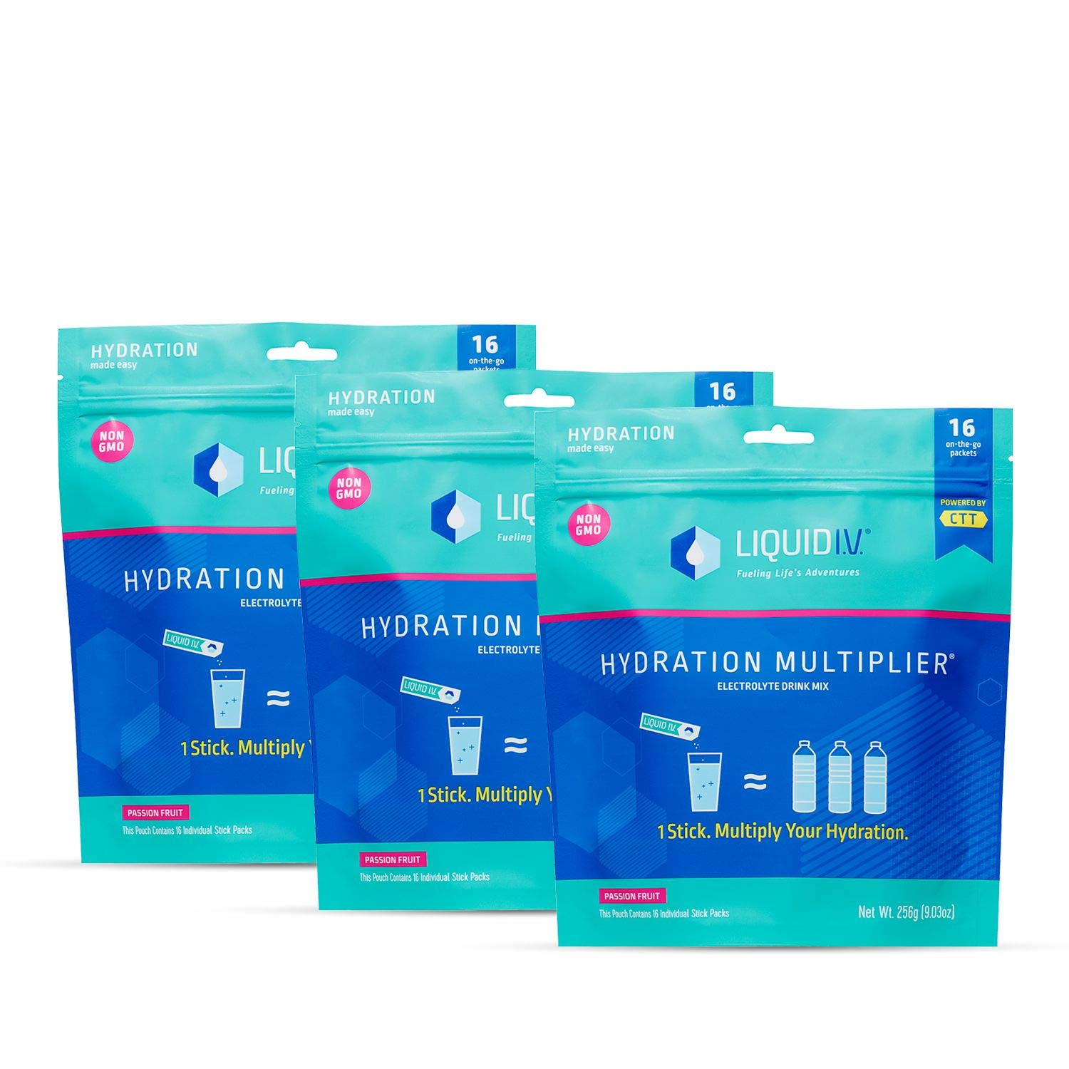 Liquid I.V. Hydration Multiplier, Electrolyte Powder, Easy Open Packets, Supplement Drink Mix (Passion Fruit) (48)