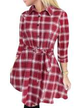 FANCYINN Buffalo Plaid Dress for Women Flannel Plaid Pattern Tunic Tops Shirt Casual Spring Dress with Belt Red and White S