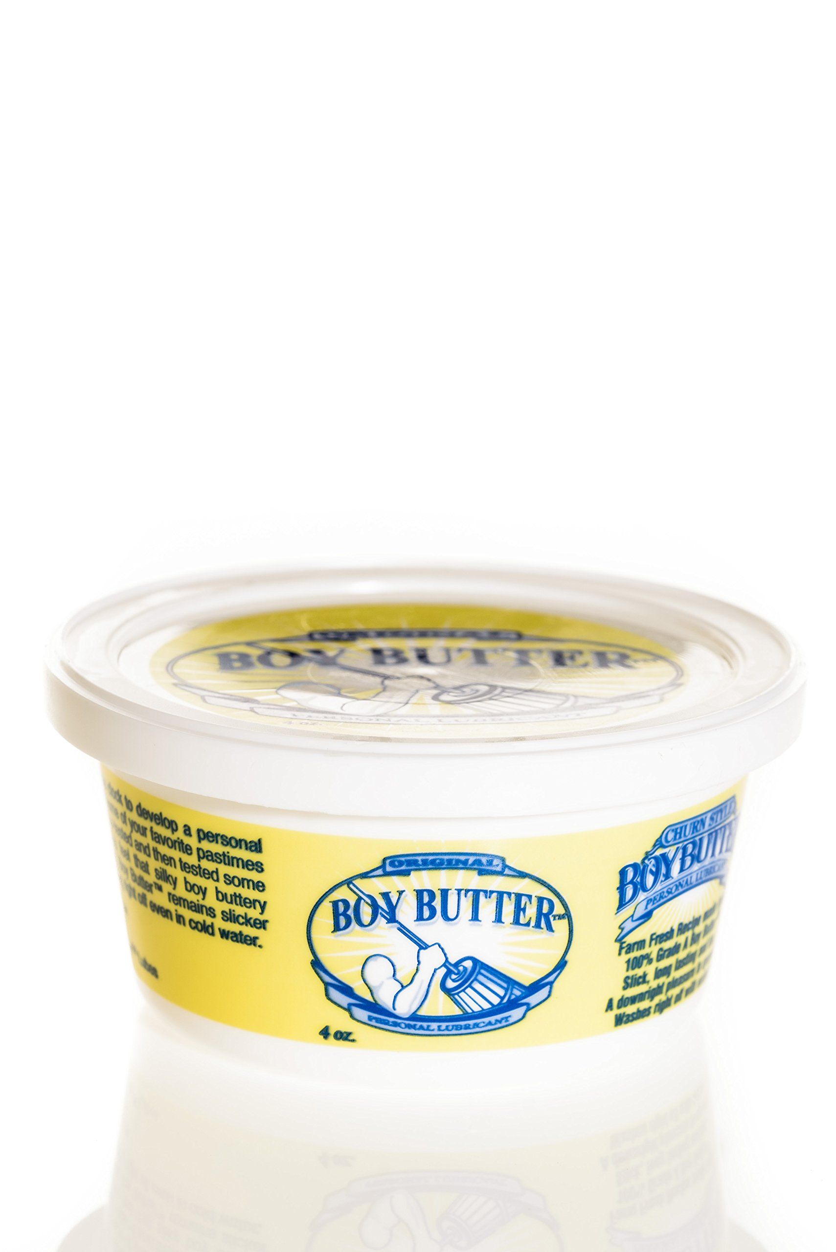 Boy Butter 4 Ounce Tub Personal Lubricant | Natural Coconut Oil & Organic Silicone | Non Staining, Washable & Slick Lube for Adults | Original Formula Oil Based Cream Made in The USA