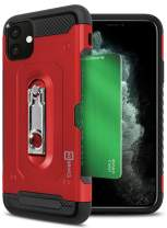 CoverON Kickstand Credit Card Holder Slot Zipp Series for iPhone 11 Case, Red