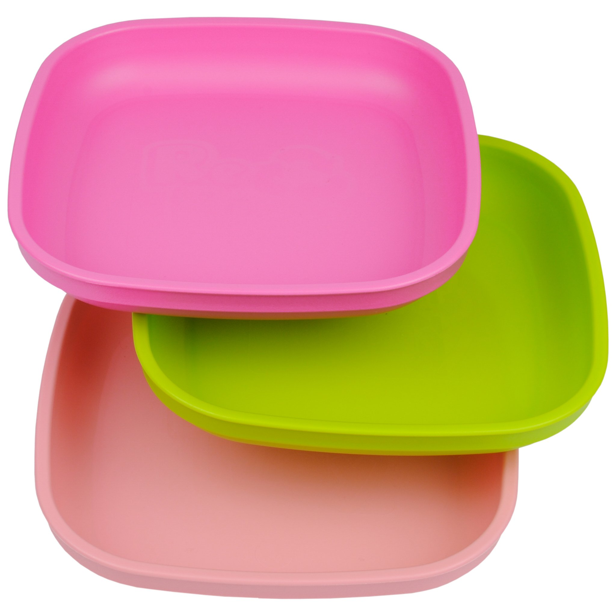 Re-Play Made in USA 3pk Plates with Deep Sides for Easy Baby, Toddler, Child Feeding - Bright Pink, Lime Green, Blush (Tulip)