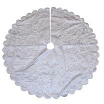 "Kurt Adler 48"" Silver Hand Embroidery Treeskirt"