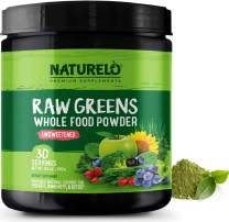 NATURELO Raw Greens Superfood Powder - Unsweetened - Boost Energy, Detox, Enhance Health - Organic Spirulina - Wheat Grass - Whole Food Vitamins from Fruit, Vegetable Extracts - 30 Servings