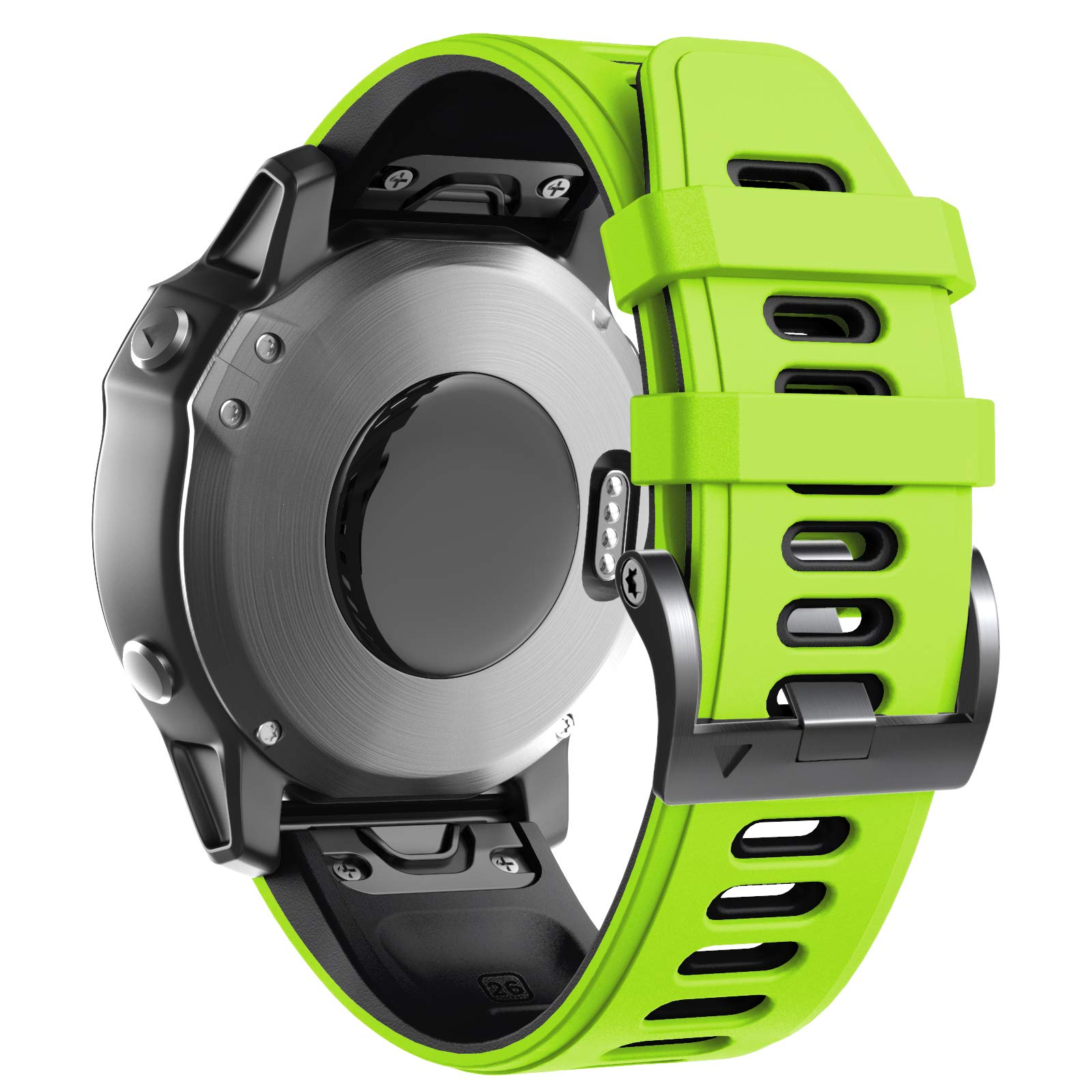 ANCOOL Compatible with Fenix 6X Bands Soft Watch Straps Sport Bands Replacement for Fenix 6X Pro/Fenix 5X/Fenix 5X Plus/Fenix 3 Smartwatches, Green-Black