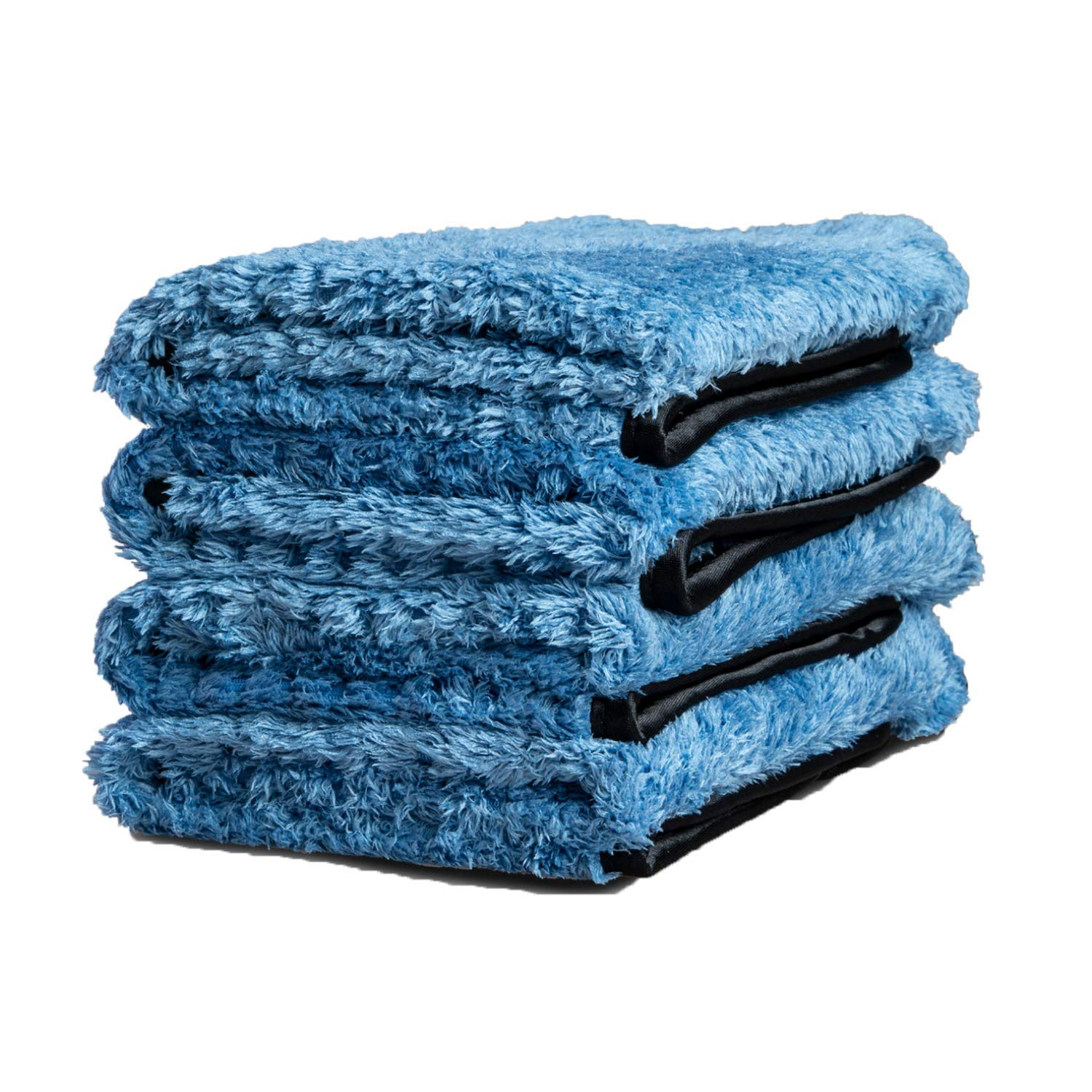 Adam's Pluffle Towel - A Microfiber Fabric Blend from Our Single Soft Towel & Waffle Weave Pattern from Our Waterless Wash Cloth - 16x16 Auto Detailing Rag W/ 490 GSM for Scratch Free (4 Pack)