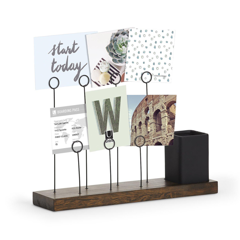 Umbra Gala Photo Display, Multi-Photo Display, Gallery for 7 Photos Plus Planter/Pen Holder, Desk Photo Frame, Aged Walnut