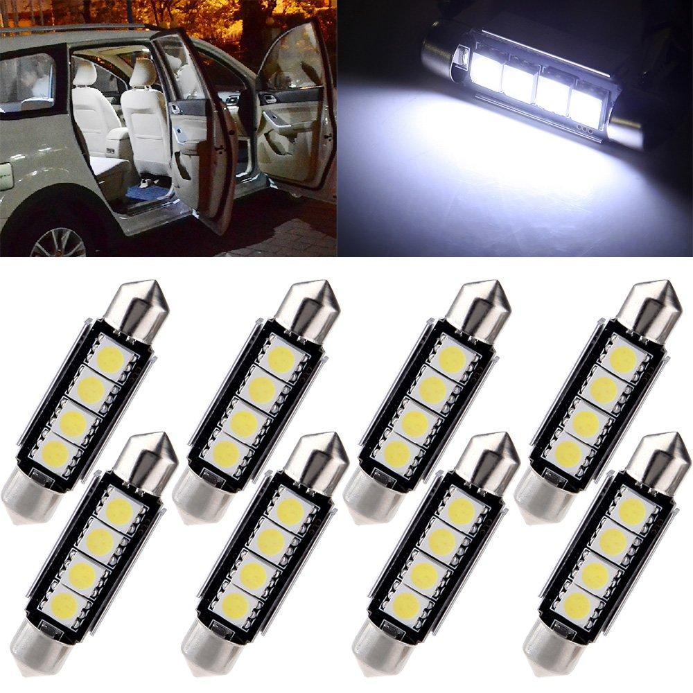cciyu 42mm Festoon LED Bulbs Error Free 4-5050-SMD White Super Bright Interior Car Lights 211 212-2 214-2 211-2 214-2 6411 560 569 578 fit for Dome Map Door Light Courtesy Light Bulbs Pack of 8